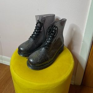 Gray Sparkly Lace Up Rain Boots